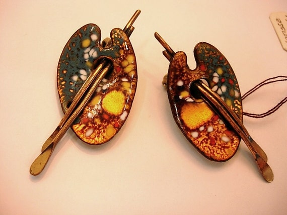 Vintage MATISSE  Renoir Artist Copper Enamel Palette Clip Earrings