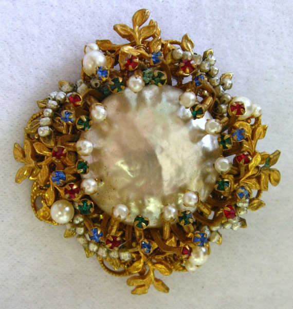 Miriam Haskell Signed Baroque Pearl Seedpearl Multicolor Gem