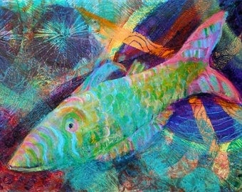 Fish in the Depths  Art Print - Beach Decor Limited Edition 10 x 14