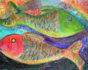 Red Fish Green Fish Art Print -10 x 14 Limited Edition -Beach Decor - Original Acrylic Painting - Folk Art