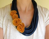 Felt Rose T-Shirt Layer Scarf Necklace