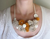Felt Flower Bib Necklace - Reclaimed Flower Cluster Necklace