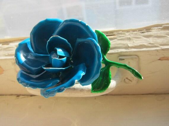 Vintage Blue Rose Enamel Brooch