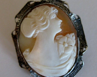 Antique Sterling Shell Cameo Brooch