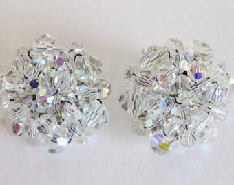 Vintage Aurora Borealis Crystal Glass Earrings