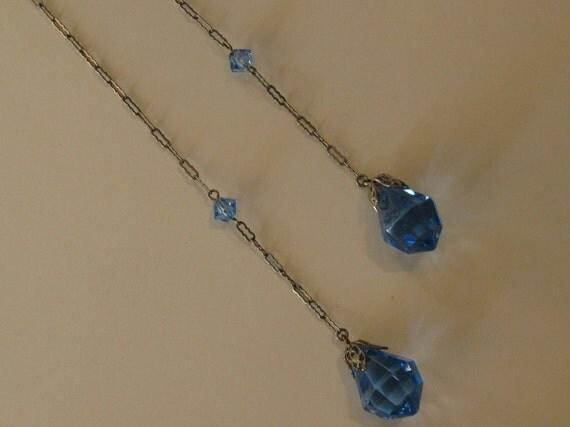Vintage 1920's Blue Crystal Sterling Necklace