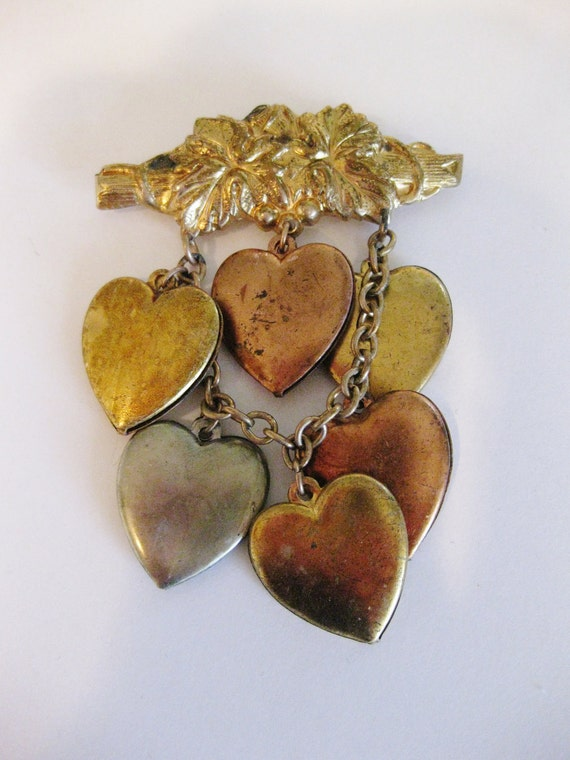 Interesting Vintage Brass Hanging Heart Brooch