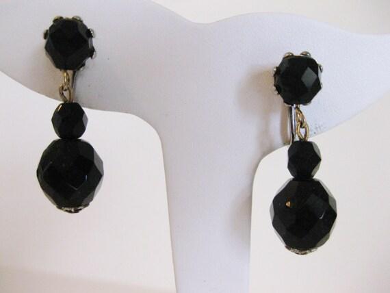 Vintage Black Faceted Glass Drop Earrings