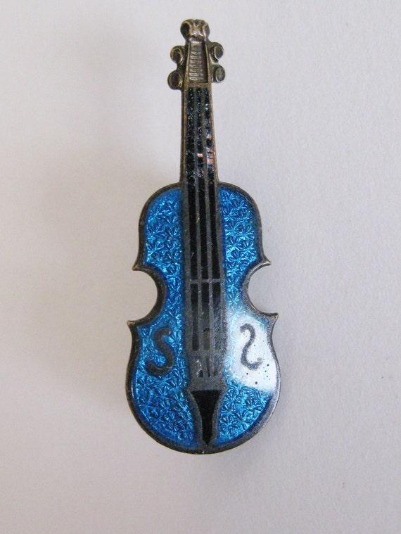 Vintage 1930's Czech Enamel Blue Violin Pin