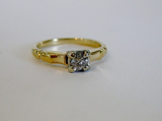 Vintage Deco Diamond Solitaire Engagement  Ring 14K Yellow Gold