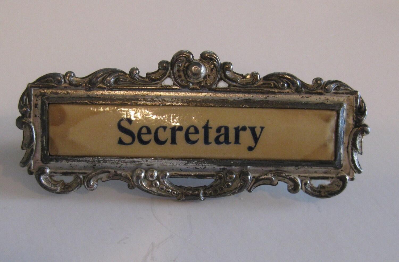 darling vintage secretary name tag. Black Bedroom Furniture Sets. Home Design Ideas