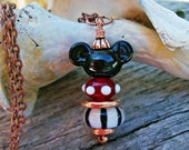 Handmade Lampwork Mickey Mouse Necklace