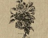 French Wedding Bouquet Instant Download no.297 Simple Elegant Burlap Feedsack Fabric Large Image Transfer Tattered Vintage 297