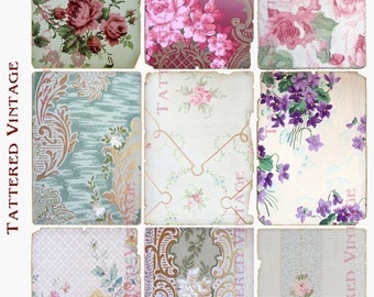 Instant Download Tattered Fragments of Antique Wallpapers ATC Backgrounds Tattered Vintage no.161