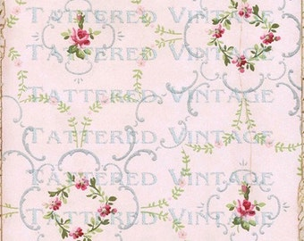 Pink Paper Instant Download no.331 Ring Around the Roses 13x13 Antique Wallpaper Collage Sheet Tattered Vintage 331
