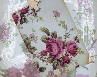Cabbage Roses Instant Download no.255 Antique Wallpaper Collage Sheet Tattered Vintage 255