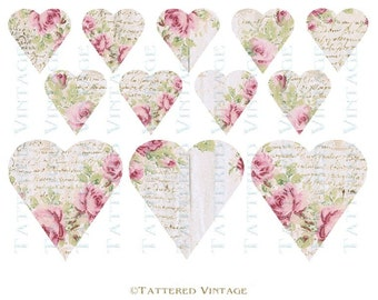 French Script Roses Heart Tags Instant Download no.470 Valentine Hearts Antique Wallpaper Collage Sheet Tattered Vintage 470