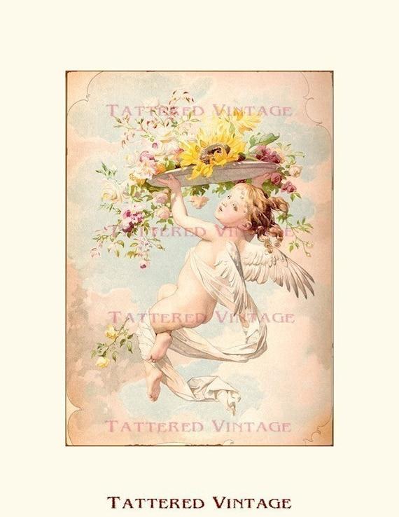 Romantic Cherub/Angel Instant Download no.97 Antique Art Collage Sheet Tattered Vintage 97