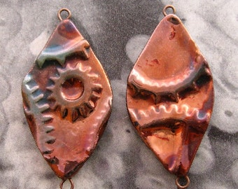 Raku Steampunk Connectors - Pair of Oval Copper Gear Links