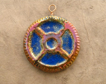 Raku Steampunk Pendant - Gold, Fuchsia and Cobalt Large Gear