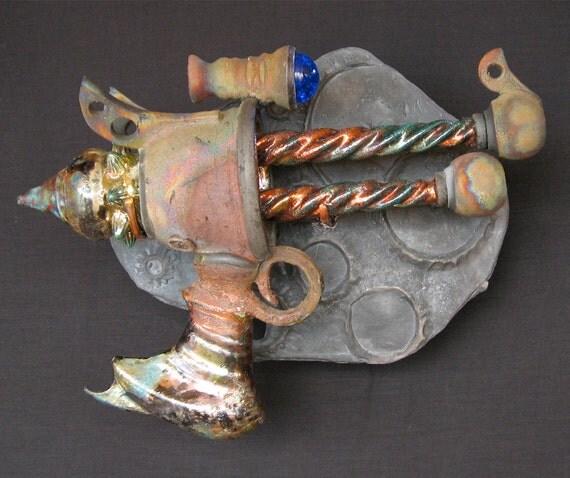 Raku Ray Gun Ceramic Sculpture - Catchman Double Narwhal