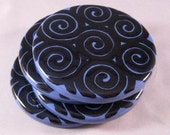 SALE - Blue and Black Swirls Round Coasters - Set of Four