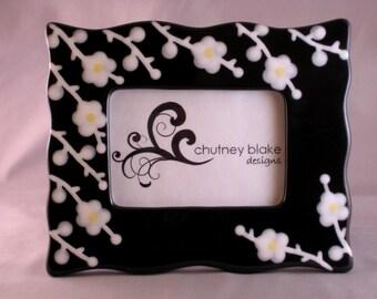 SALE - White Blossoms on Black Wavy Frame