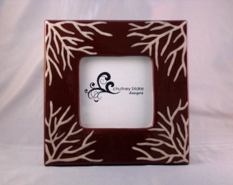 Brown Sea Fan - Hand Painted Ceramic Picture Frame