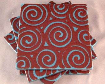 SALE - Blue with Brown Swirls Coasters - Set of Four
