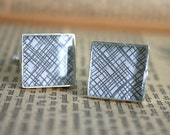 Security Envelope Cufflinks - Black Crosshatch Square