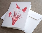 Birds of a Feather Greeting Card - Handmade Featuring Original Red Watercolour Print