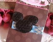 Best Seller...Black Sequined Mickey on Blue Argyle No-Slip Clip...Perfect for your upcoming Disney Vacation