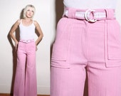 Vintage 70s Pink High Waist Wide Leg Bell Bottoms Pants XS