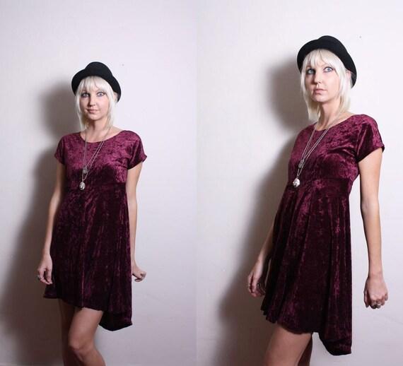 Vintage 90s Purple Crushed Velvet Grunge Goth Babydoll Dress
