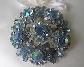 Crown Trifari Blue Rhinestone Brooch