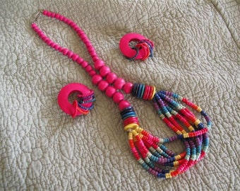 Vintage Hot Pink Necklace and Earrings
