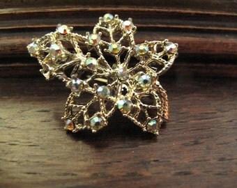 Vintage Leaf Rhinestone Brooch Pin Estate Jewelry Mid Century Brooch