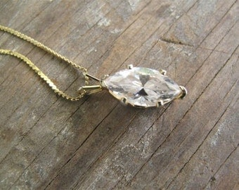 Vintage CZ pendant with 14k gold chain Estate Jewelry Collectible Jewelry Classic Necklace