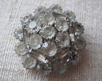 Vintage Rhinestone Domed Brooch