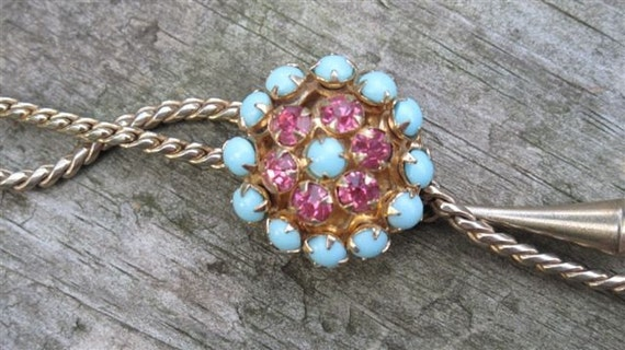 Vintage Bolo Necklace with Pink Rhinestones and Baby Blue Stones