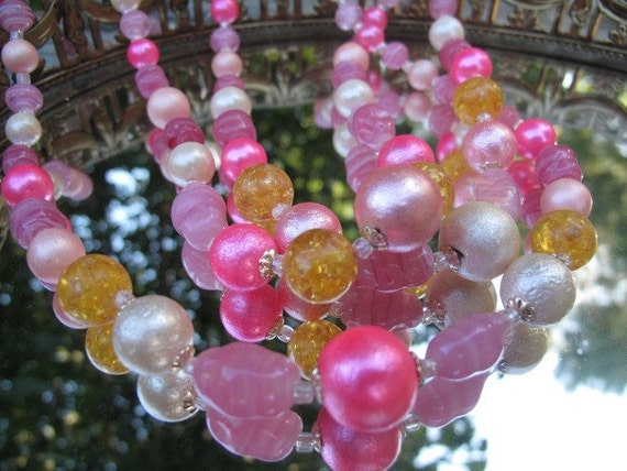 Shades of Pink Bead Necklace from  Japan