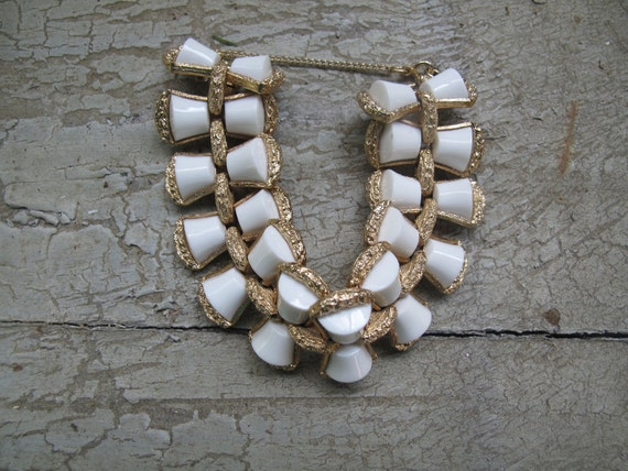 Vintage Monet White and Gold tone Are Deco Style Bracelet