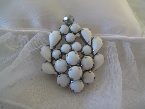 Milk Glass Brooch