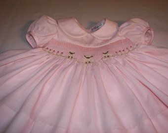 Smocked  Dress Custom Order - Little Lambs - Peter Pan Collar,