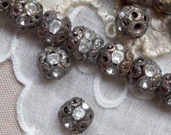 6 mm Vintage Brass Rhinestone Beads 15 or 30 Pieces
