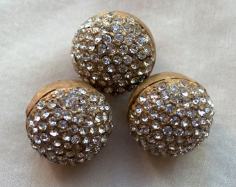 Pendants Charms Classic Rhinestone Pavé Set Brass Buttons 13 mm