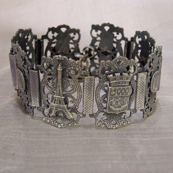 PARIS BRACELET Antique Souvenir Silver Metal Filigree