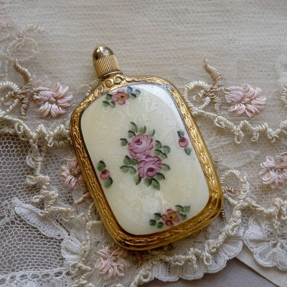 PERFUME BOTTLE GUILLOCHE Enamel Antique Victorian Pink Roses French