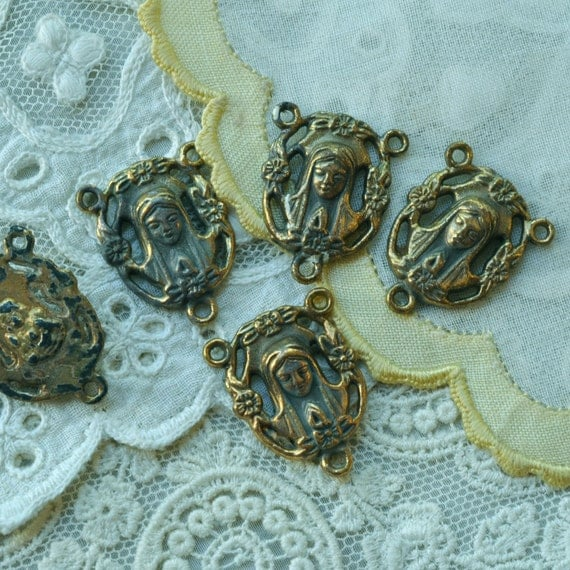 Vintage gold plated rosary connectors mother mary
