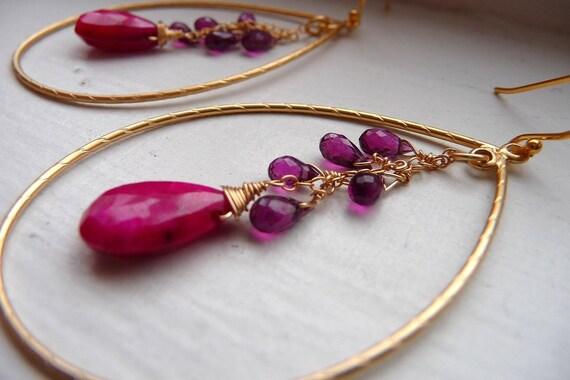 Flora Earrings - Ruby and Garnet